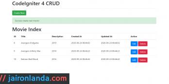 CodeIgniter 4 CRUD + Bootstrap 4