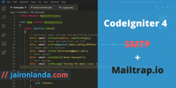 CodeIgniter 4 send email with SMTP (integrate with Mailtrap.io)